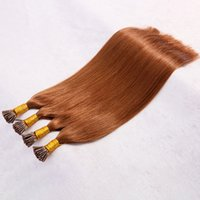 en iyi brezilya saç uzantıları toptan satış-En iyi 10A Doğal Keratin Kapsül Prebonded Ben Ucu Saç Uzatma düz ucu saç Brezilyalı Bakire Kıllar 18 inç # 30 Renk