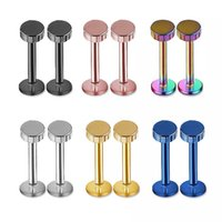 Wholesale columned Labret Lip Chin Ring Nose Ear Bar Stud Stainless Steel Piercing Fashion Body Jewelry