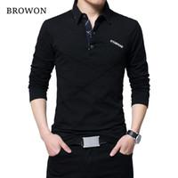 ingrosso shirt in vendita-Browon vendita calda T Shirt da uomo T-shirt lunga Turn-down Stripe Designer T-shirt Slim Fit T-shirt casual in cotone sciolto maschile Plus Size S19713