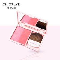 зеркало для макияжа макияжа оптовых-CHIOTURE Vitality Matte Blush Palette Dual Color Waterproof Makeup Face Blusher with Mirror Brush Blush Maquiagem Colorete