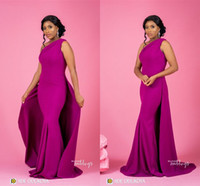 Wholesale purple black mermaid wedding dress resale online - 2019 Sexy Fuchsia Mermaid Bridesmaid Dresses Vintage Over Skirt Sheath Wedding Guest Gown Cheap Plus Size Prom Evening Maid Of Honor Dresses