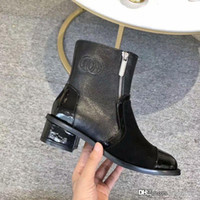 Wholesale designer patent leather boots resale online - 109Chan Black Leather Suede And Patent Leather Short Boots Shoes Ankle Boots cm With Original Box