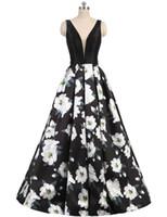baskılı resmi balo elbisesi toptan satış-2019 Seksi Baskılı Çiçek Gelinlik Modelleri Abiye V Boyun Kolsuz Backless A Hattı Balo Uzun Örgün Parti Elbise