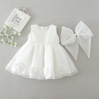 Wholesale baby girls gowns for sale - Group buy Newborn Baby Girls Princess Dress Flower Appliqued Beaded Sash Solid Mesh Back Bow Christening Gown Kids Designer Clothes Lace TUTU Dress