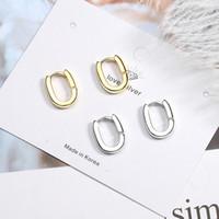 Wholesale 925 jewelry korea resale online - New Fashion sterling silver Men Gold Earring Geometric Earrings For Women Female Korea Silver Jewelry Oorbellen
