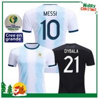maillots argentins achat en gros de-2019 2020 Argentine domicile à domicile Maillot MESSI DYBALA DI MARIA AGUERO HIGUAIN 19 20 Maillot de sport homme adulte femme enfants