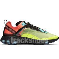 hafif yarışçı toptan satış-Eleman tepki 87 Işık Orewood Kahverengi Volt Racer Koşu Ayakkabıları Yüksek Kalite Erkekler Kadınlar Tasarımcılar Mavi Güneş Kırmızı Yelken Atletik Ayakkabı Kutusu