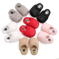 Wholesale girls summer flat shoes for sale - Group buy Baby Fur Sandals Baby Slippers Fashion Soft Leather Elastic Band Silicone Antiskid Shoe Kids Top Quality Solid Summer Shaggy Shoes