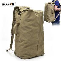 Wholesale canvas backpack military resale online - Men s Military Canvas Backpacks Multi purpose Bucket Travel Bag Large Shoulder Bags Men Army Tourist Foldable Hand Bag XA1934C T200326