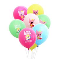 baby party ballons großhandel-12 zoll baby shark cartoon luftballons latex luft runde luftballons hochzeit baby birthday party home outdoor dekor requisiten liefert ffa2131