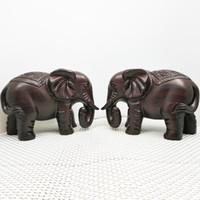 chinesische dekorationen holz großhandel-Hölzerner handgeschnitzter Elefant-chinesische Art-Handwerks-Dekorations-glückverheißender Schatz-Elefant-Eichen-Birnen-Holz-Inneneinrichtung