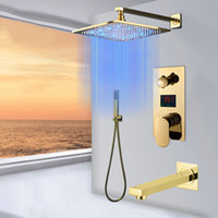 Golden Polished Digitail Display Bath Shower Faucet Rainfall LED 3 Way Bathroom Faucet Triple Way LCD Mixer Valve