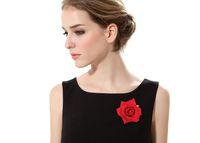 ingrosso spille di accessori dei capelli del fiore-Flower Brooch Head Ornament Bride Women Rose Flower Accessori per capelli Wedding Hair Clip Flamenco Dancer 4Colors