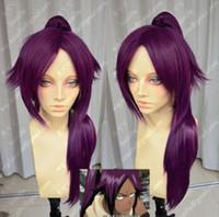 Wholesale purple hair lolita cosplay online - Anime Lolita Women Long Purple Ponytail Bleach Shihouin Yoruichi Kanekalon Heat Resistant Cosplay Party Hair Full Wig Wigs