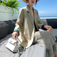 volle brüste großhandel-Elegante gekerbte Kragen helle Farbe Frauen Blazer 2019 Einreiher weibliche Jacke Outwear volle Hülse Büro Damen Blaser