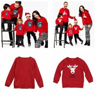 Wholesale woman children matching clothing online - Family Matching Hoodie Christmas Deer Print Parent child Outfit Long Sleeve Family Tops Kids Men Women Clothing Christmas Decoration GGA1407