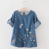 nachahmung baby kleidung großhandel-Sommer Baby Mädchen Kleid Lässig Libelle Gestickte Nachahmung Denim Prinzessin Kleid Baby Mädchen Kleidung Kinder Kleid Für Mädchen Infant Produkt