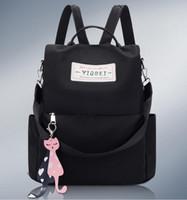bayanlar kumaş çanta toptan satış-Tasarımcı Moda Sırt Çantası Kadın Sırt Çantaları Genç Kızlar için Çift Fermuar ile Oxford Kumaş Meslektaş Çanta Bayanlar Seyahat Sırt Çantası
