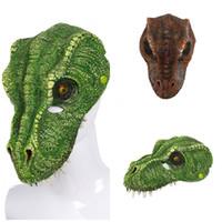 mascarilla de espuma al por mayor-Carnival dinosaurio animal máscaras de Halloween de miedo del color verde 3D de la PU que hace espuma de la cara llena terror Tyrannosaurus Rex máscara de Halloween Suministros 13szE1