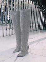 kristall-chunky high heels großhandel-2019 neueste Winter Luxus Kristall Frauen Spitze Zehe Kniehohe Stiefel Sexy Chunky Heel Stiefel Slip On Damen Ritter Stiefel Strass Stiefel Frau