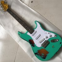Wholesale precision guitars for sale - Group buy In stock ebony fingerboard cattle strand pillow retro relic green electric guitar precision production