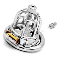 ingrosso dispositivo di castità unico-Gabbia di castità in acciaio inossidabile con gabbia in stile unico Gabbia di castità in acciaio con castone a forma di anello Giocattoli sessuali Uomini G7-1-262F