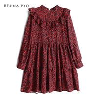 leopar standı toptan satış-REJINAPYO Kadınlar Vintage Kırmızı Leopar Baskı A-line Elbise Standı Yaka Kadın Moda Yüksek Bel Elbise Parti Ruffles