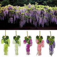 ingrosso piante artificiali da giardino pendenti-Artificiale Falso Glicine Pianta Rattan Wedding Party Home Garden Decoration Hanging Flower C19041702