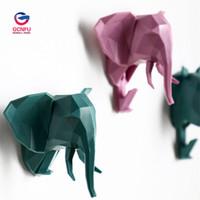 ванные комнаты с магнитом оптовых-1PCS Creative Pasting of Cartoon Three-dimensional Animal Head Hook Free Shipping