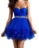 ingrosso camicia di vestito dall'azzurro reale delle donne-2019 Royal Blue Tiered Organza Homecoming Dresses Sweetheart in rilievo di cristallo Mini brevi abiti da ballo da donna