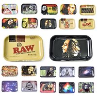 Wholesale raw for sale - Group buy Metal Chic RAW BOB Marley Roll Tray Metal Tobacco Rolling Tray Glass Pipe mm for smoking pipes herb grinder rolling paper