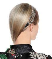 telli elmas taklidi saç aksesuarları toptan satış-Vintage zincir saten headdress Avrupa ve Amerikan mektubu G parlak rhinestone kadın kafa saç aksesuarı