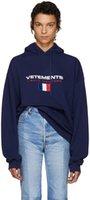 mujer de abrigo francés al por mayor-capucha diseñador VETEMENTS franceses bordados bandera de encapuchados flojos y mujeres modelos de suéter encapuchado abrigo de marca Tide