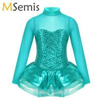 Wholesale figure ice skates resale online - Girls Shiny Sequins Long Sleeves Tulle Splice Keyhole Back Figure Ice Skating Roller Skating Ballet Dance Leotard Tutu Dress