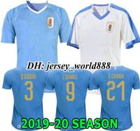 camisa de futebol americano azul venda por atacado-Taça Americana 2019 Uruguai azul Casa Camisola de Futebol 2020 Suarez Edison Cavani Forlan Godin Uruguai 19 20 afastado Camisa de futebol