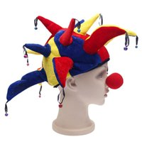ingrosso campane di pagliaccio-2017 vendita calda multicolore Halloween Party Hat pagliaccio con le campane Clown Unisex Cosplay della protezione del cappello giullare Naso costume divertente gioco della palla