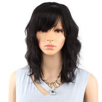 isıya dayanıklı peruk koyu kahverengi toptan satış-Bob Peruk Kısa Sentetik Karışık Renk Siyah Mix Kadınlar Için Koyu Kahverengi Peruk Orta Uzunlukta Isıya Dayanıklı Cosplay Peruk
