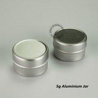 Wholesale mini aluminium container resale online - 50pcs g Mini Aluminium Silver Jar Empty Sample Container Podwer Jar Cosmetic Container Travel Pot Jar mm