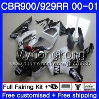 ingrosso cinghia nera 929-Bodys per HONDA CBR900 RR CBR 929 RR CBR929RR 2000 2001 279HM.48 CBR900RR CBR 929RR CBR 900RR CBR929 RR 00 01 Kit carenatura nera Fairing Repsol