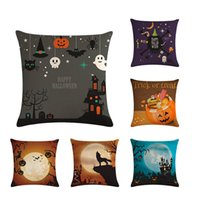 Wholesale decorative skins for sale - Group buy Halloween Peach Skin Pillow Cover Pumpkin Night Wolf Sofa Cushion Cover Decorative Throw Pillowcase Car Seat Pillow Cover ZY714