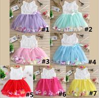 gelinlik plaj kızı toptan satış-Ins 7 Renkler Bebek Kız Elbise 2019 Yaz Çiçek Çiçek Kolsuz Kız Örgü Tül TUTU Plaj Etek Çocuk Prenses Gelinlik 2019 B362