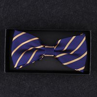 ingrosso cravatta gialla in mensola-Bernoulli Mens di lusso Royal Blue Yellow Striped Bows Tie Bowtie regolabile per la festa nuziale uomo con scatola regalo B-025