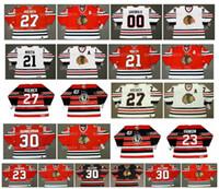 jersey de blackhawks vintage al por mayor-Vintage Chicago Blackhawks Jersey 21 STAN MIKITA 27 JEREMY ROENICK 00 CLARK GRISWOLD 30 MURRAY BANNERMAN 23 STU GRIMSON 30 ED BELFOUR Hockey