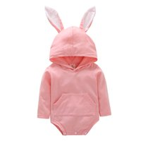 Wholesale Baby Hoodie Romper Girls Boys Easter Day Romper Jumpsuit Hooded Outfits New Cute Rabbit Ears Infant Long Sleeve Cartoon Clothing