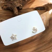 imitacion corea strass al por mayor-AOMU Korea Simple Crystal Rhinestones Star Moon Earring Imitation Pearl Stud Earrings para mujeres Fashion Ear Jewelry
