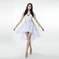 cosplay romano sexy venda por atacado-Sexy Deusa Grega Vestido de Fantasia Das Senhoras Fada Branca Luz Pendurado No Pescoço Vestido Toga Robe Romano Traje Cosplay