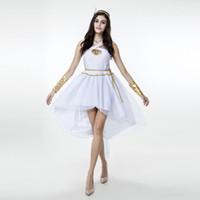 sexy römischen cosplay großhandel-Sexy griechische Göttin Abendkleid Damen weißes Licht Fee hängende Hals Kleid römische Toga Robe Cosplay Kostüm
