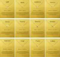 colar de pingente de leo venda por atacado-Moda Logo Sem Dogeared com cartão do sinal do zodíaco banhado a ouro Leo / Aries / Virgo cadeia pingente de colar Choker clavícula feminina presente Jóias