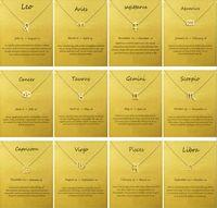 ingrosso segni zodiacali gioielli in oro-Moda Nessun Logo Dogeared Con Carta Il Segno Zodiacale Placcato Oro Leone / Ariete / Virgo Collana a catena pendente Choker Clavicola Gioielli regalo Donna