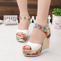 Wholesale high heels wedges bows for sale - Group buy Fashion Women Sandals Summer Wedges Women s Sandals Platform Lace Belt Bow Flip Flops Open Toe High heeled Women Shoes Female26